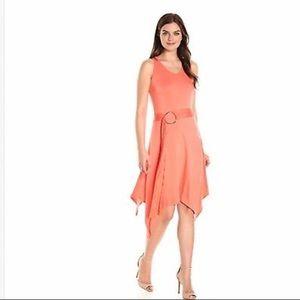 Georgia Peach Sleeveless Belted Knit Dress